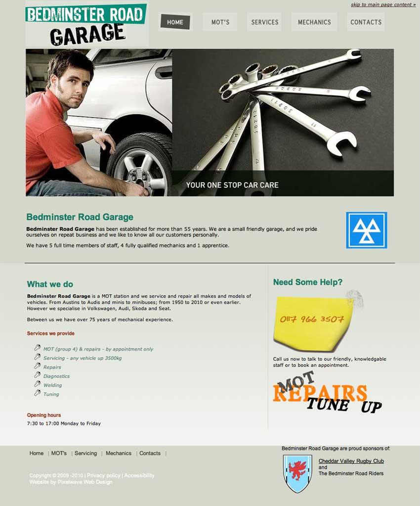 pixelwave web design portfolio bedminster road garage bristol