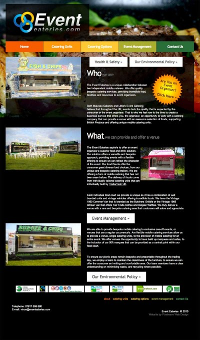Event Eateries website, Wales Screen Grab