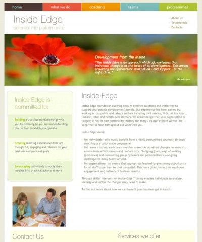 Inside Edge website screen grab