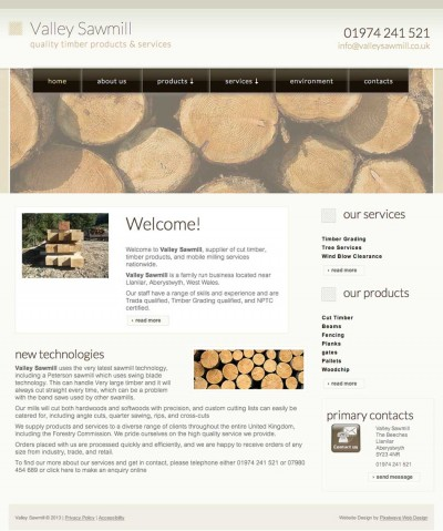 Valley Sawmill Website Design