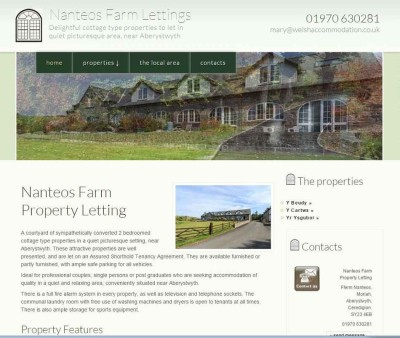 Nanteos Farm Lettings Website Design