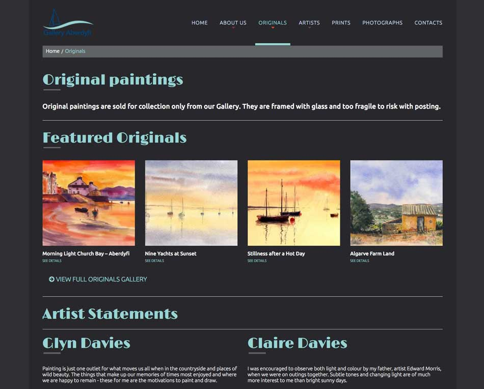Gallery Aberdyfi Portfolio Website