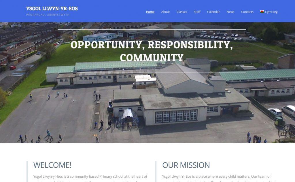 Ysgol Llwyn yr Eos Website Design Screen Grab