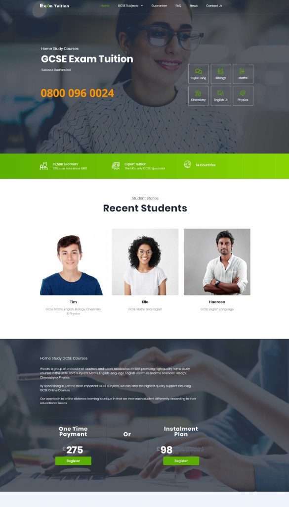 Exam Tuition Website Design Screen Grab