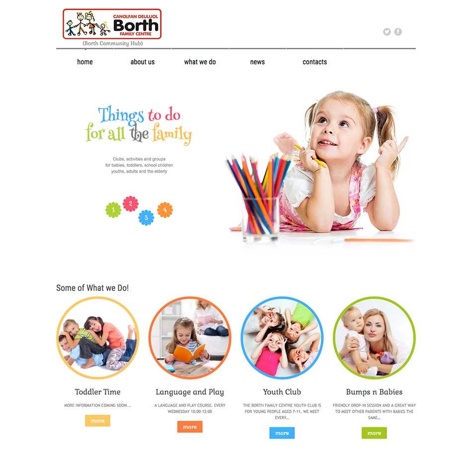 Borth Family Centre Website Design Screen Grab
